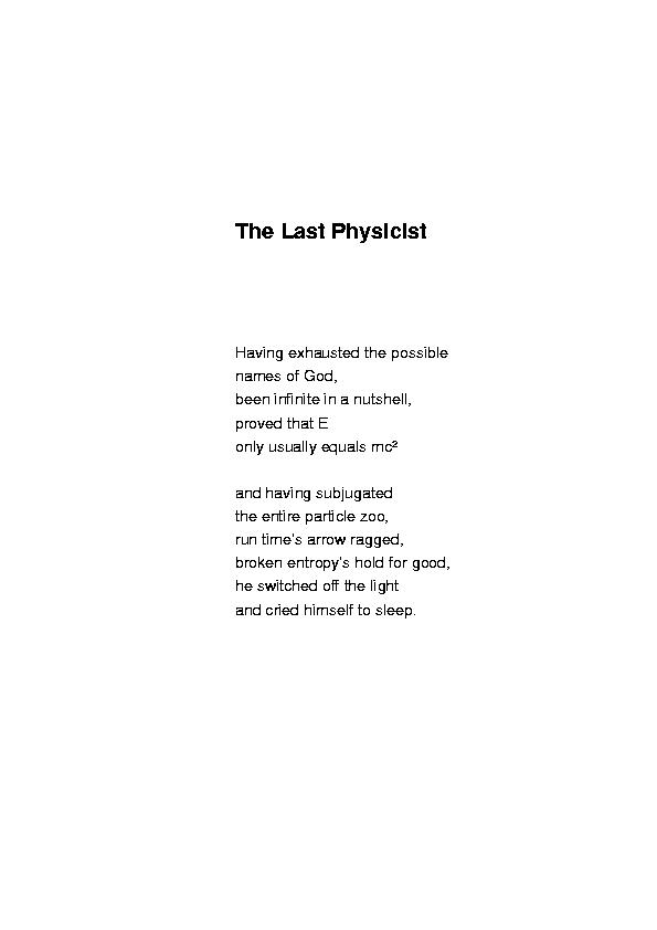 The Last Physicist